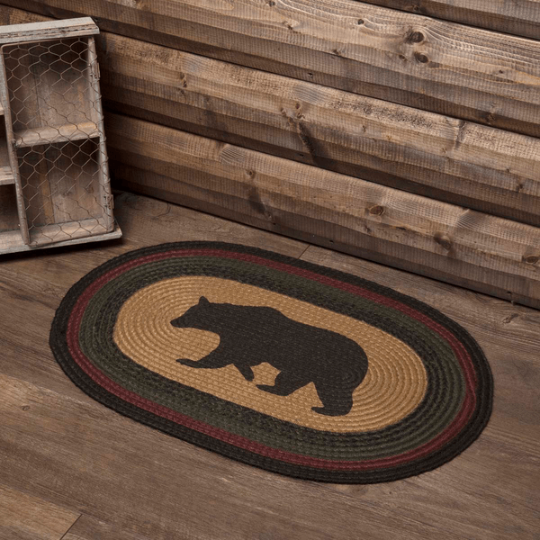Wyatt Bear Oval Jute Rug Teton Timberline Trading
