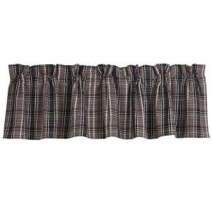 Country Gray Plaid Valance