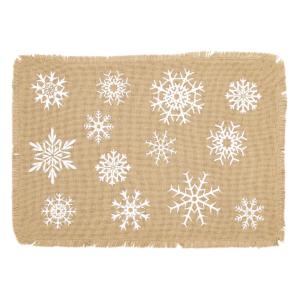 Snowflake Burlap Placemat Set