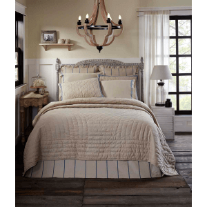 Charlotte Natural and Azure King Quilt Set