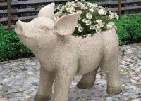 Rustic Garden Pig Planter
