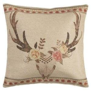 Bohemian Burlap Skull and Flowers Toss Pillow