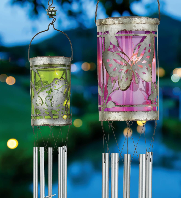 Solar Butterfly Wind Chime Hanging Lantern Teton