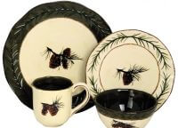 Pine Cone Hand Painted Stoneware Set