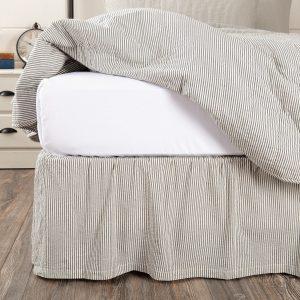 Hatteras Seersucker Blue Ticking Stripe Bed Skirts