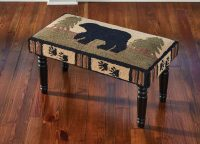 Adirondack Bear Plush Hooked Bench