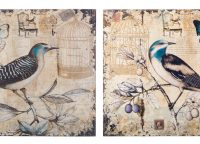 Rustic Blue Bird Wall Art Set