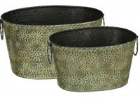 Green Star Petal Oval Bucket Set