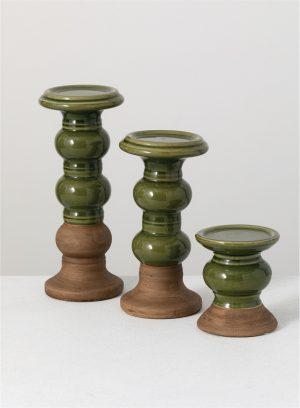 Duo Hue Pine Green Candleholder Set