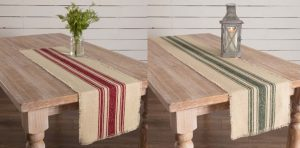 Vintage Stripe Burlap Table Runners
