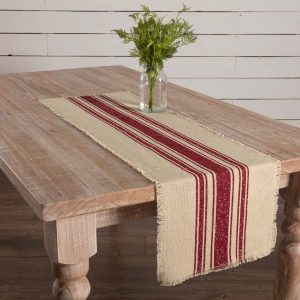 Vintage Burlap Stripe Standard Table Runner
