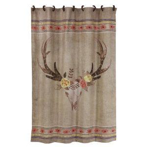 Bohemian Burlap Skull Shower Curtain
