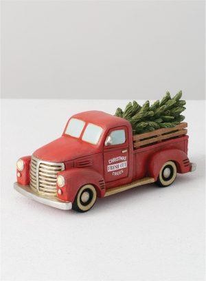 GYGI Christmas Tree Red Truck Figurine