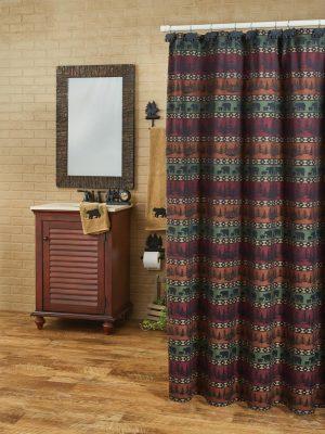 Mountain Bear Shower Curtain Display
