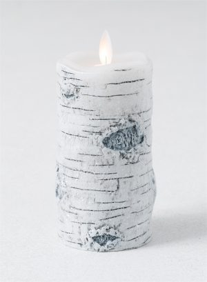 Create a welcoming candlelight display with our flickering flameless candle, featuring bark-finished wax candle body. The flickering light mimics a candles authentic glow, Candle Impressions Flameless LED Candle