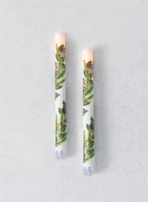 Flameless LED Holly Berry Taper Candle Set